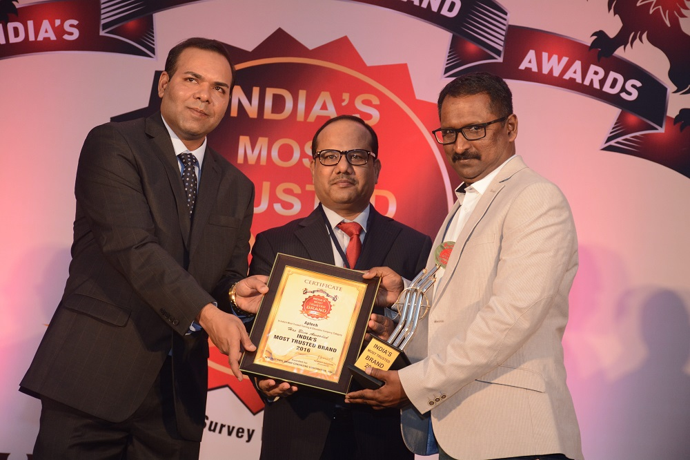 Aptech voted as India's Most Trusted Brand in training & education in the consumer survey conducted by IBC Infomedia & Media Research Group (MRG), 2016