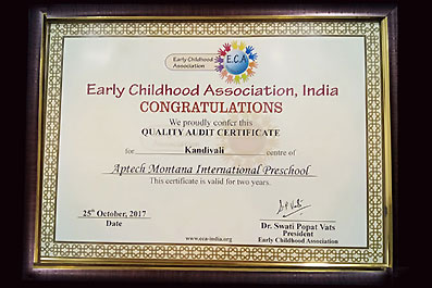 Aptech International Preschool was awarded Quality Audit Certificate (for Kandivali, Mumbai centre) by The Early Childhood Association