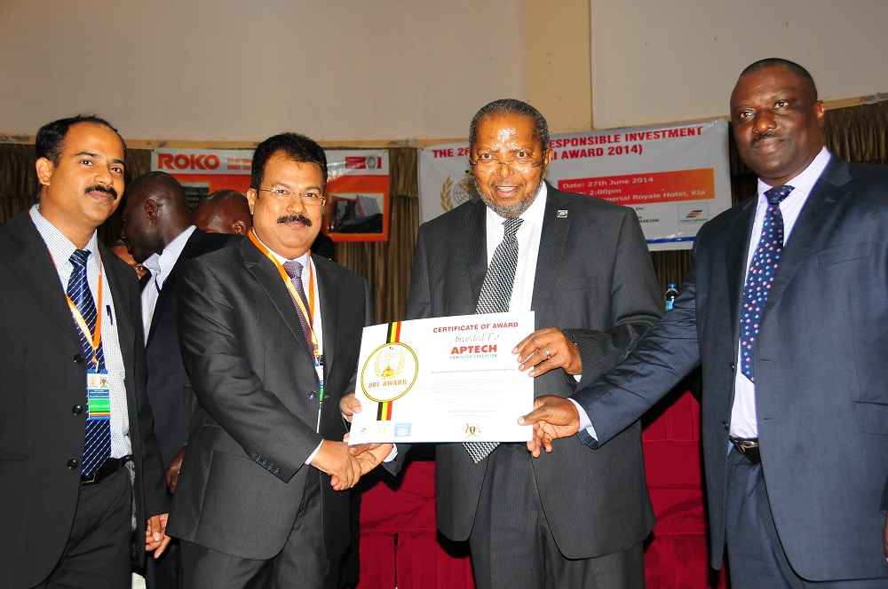 Aptech awarded the 'Best Computer Training School' award by Uganda's Prime Minister, Amama Mbabazi for 3rd year in a row, 2013-15.