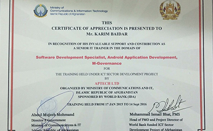 Aptech honoured by MCIT, Afghanistan